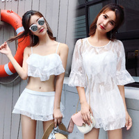 2019 New Three Pieces Swimsuit Women Solid Patchwork Lace three piece transparent skirt Retro Bathing Suits Monokini Swimsuit