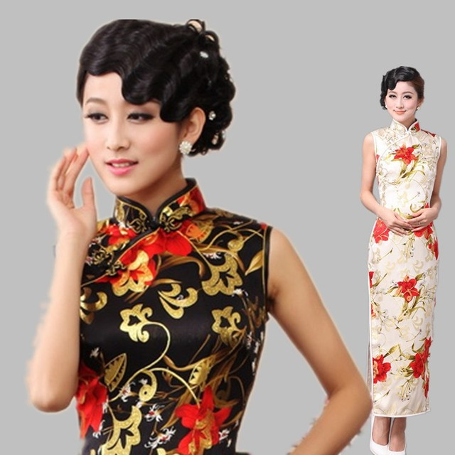 6107e6a84dce Vintage old Shanghai fashion women cheongsam black white lily quality silk  long Qipao one piece evening dress for party dinner