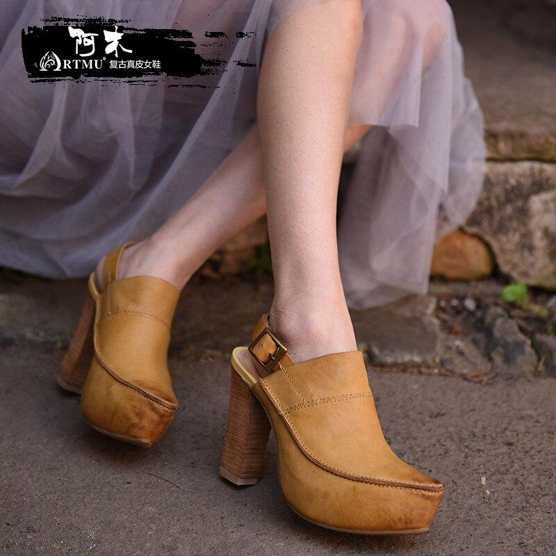 Artmu Original Spring New Retro High Heels Women Sandals Genuine Leather Platform Buckle Handmade Shoes 685-2 artmu original vintage wedges heel women sandals genuine leather handmade belt buckle high heels sandals tm338 21