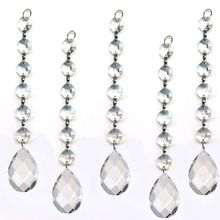 Freeshipping,30pcs/lot,6pcs14mm crystal octagon bead with 38mm almond pendant,crystal garland strand for wedding garland strand