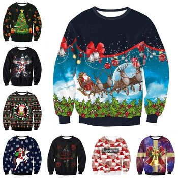 2018 Ugly Christmas Sweater For Women and Men Printe Loose Sweater Pullover Christmas Novelty Autumn Winter Tops Clothing