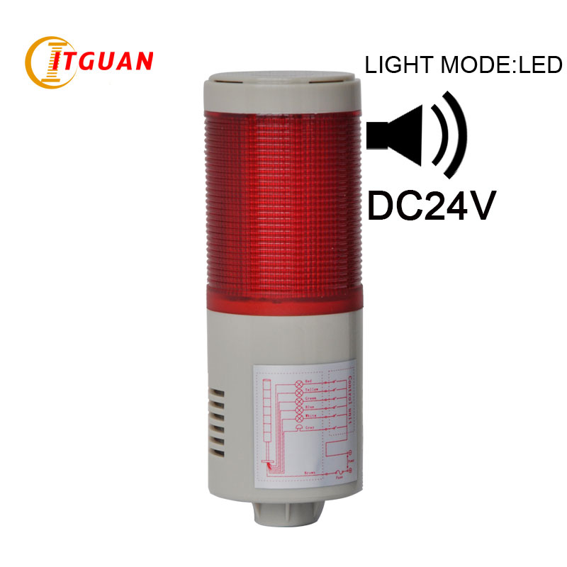 LTA-505 DC24V 1 Layer LED tower light Alarm with Sound led signal tower light tower signal light 24v