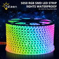 TSLEEN Free Shipping! Free To Cut RGB LED Strip Light Waterproof 60LEDS/M 20M 25M 30M 40M 50M 100M 5050 Lamp 220V Power Supply