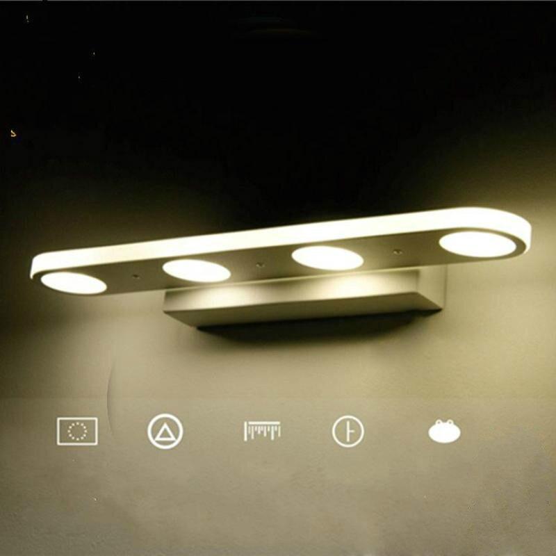 ФОТО New Simple Bathroom Mirror Light LED Bathroom Wall Lamp Stainless Steel lamparas de pared Make-up Waterproof Anti-fog Lamps