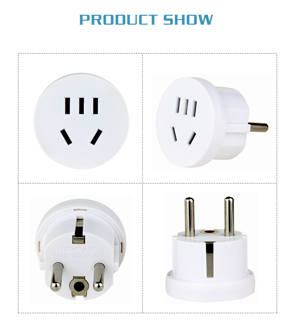 1PC US AU To EU Plug USA AUS To Euro Europe Travel Wall AC Power Plug Wall Charger Outlet Adapter Converter 2 Round Pin Socket (12)