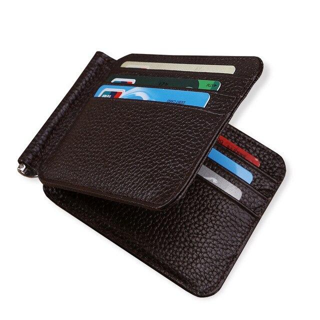 Южная Корея стиль зажим для денег мужской кошелек-Сумочка Ультратонкий Тонкий кошелек мини пояса из натуральной кожи Бизнес ID кредитных карт Чехол
