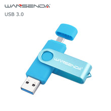 WANSENDA OTG USB 3.0 USB Flash drives Pen Drive for Android system 8GB 16GB 32GB 64GB 128GB External Storage 2 in 1 Pendrive(China)