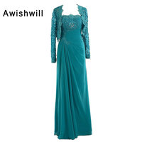 Real Picture Strapless Applique Beaded Chiffon Floor Length Elegant Mother of The Bride Dresses With Jacket Women Formal Dresses