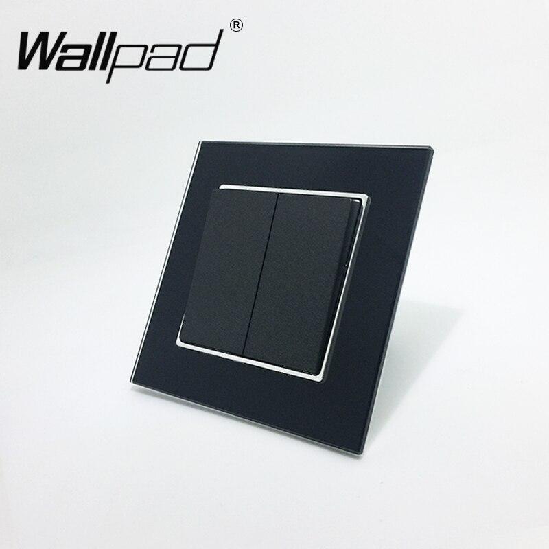 Wallpad 110-250 V negro de vidrio templado estándar de la UE estilo 2 pandilla 1 manera empujar basculante interruptor de luz con ronda vuelta Clip de montaje