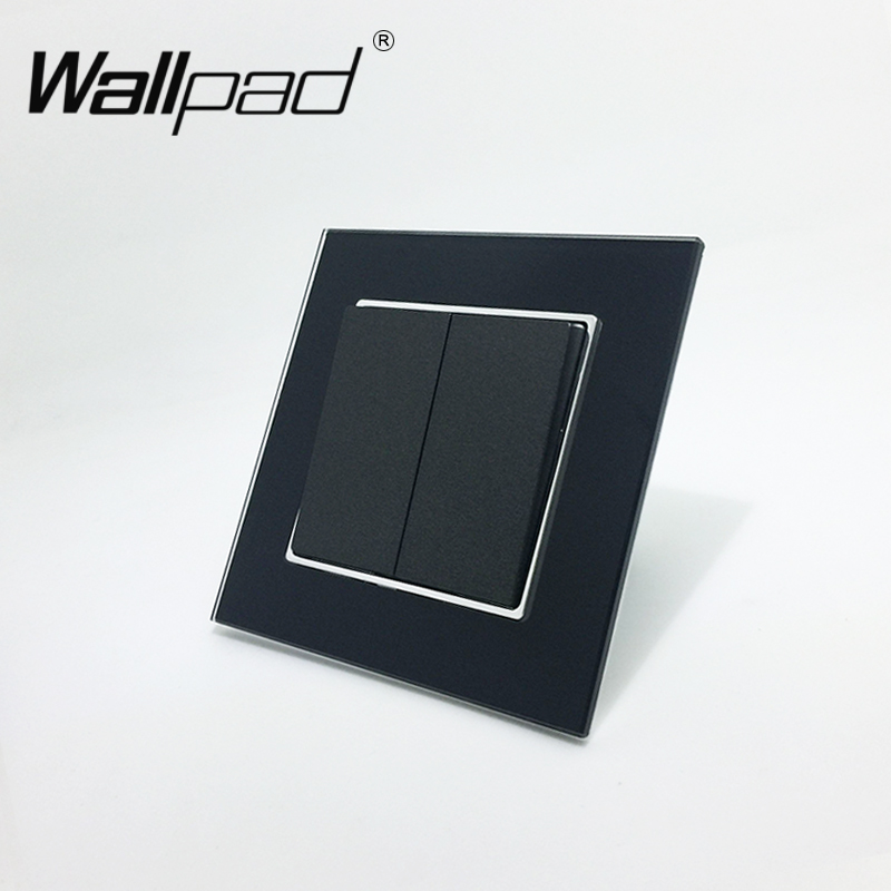 Wallpad 110-250V Black Toughened Glass EU Standard Style 2 Gang 1 Way Push Rocker Wall Light Switch with Round Back Clip MoutingWallpad 110-250V Black Toughened Glass EU Standard Style 2 Gang 1 Way Push Rocker Wall Light Switch with Round Back Clip Mouting