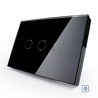 US AU Standard Touch Switch Smart Black Pearl Crsytal Glass Panel 3Gangs 1Way 220V 50Hz Touch