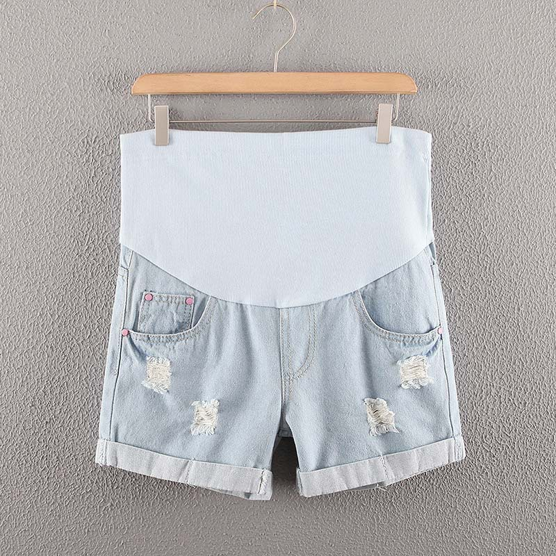 Summer Pregnant Women Maternity Shorts Holes Jeans High Waist Pockets Denim Care Belly Pants M09