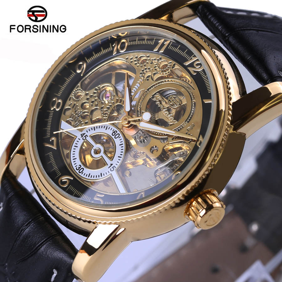 Forsining brand Watches Classic Mens AUTO automatic Mechanical Watch Self-Winding Analog Skeleton black Leather Man Wristwatch forsining men s watch vogue skeleton mechanical leather analog classic wristwatch color silver fsg8090m3