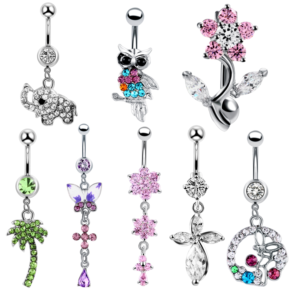 8 Styles Surgical Steel Belly Button Rings Navel Piercings Nombril Piercing Ombligo Navel Rings Belly Piercing Body Jewerly