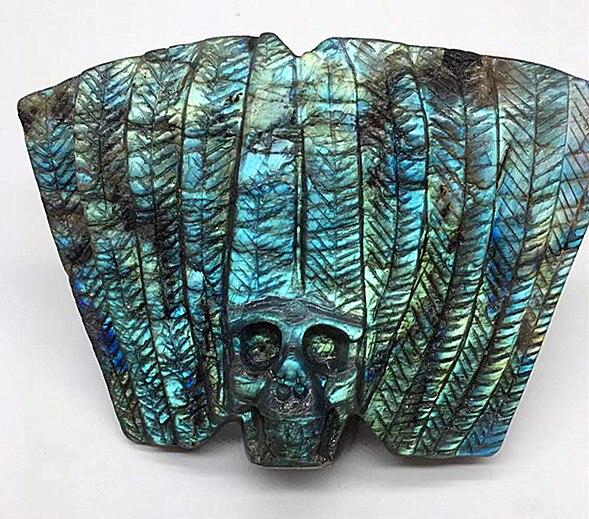 Crâne de lumière verte de plume de labrador naturel/sculpture de guérison de reiki de cristal de tête