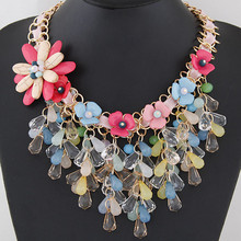 Kymyad Jewelry Statement Choker Necklace Collier Femme Flower Necklaces & Pendants Big Maxi Necklace For Women