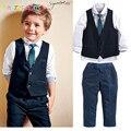 Cavalheiro Menino Da Criança Roupas Roupas De Casamento Crianças terno Criança Colete + Camisa + Calça + Gravata 3 pcs set 2-6Year/Roupa Do Bebê Do outono BC1301