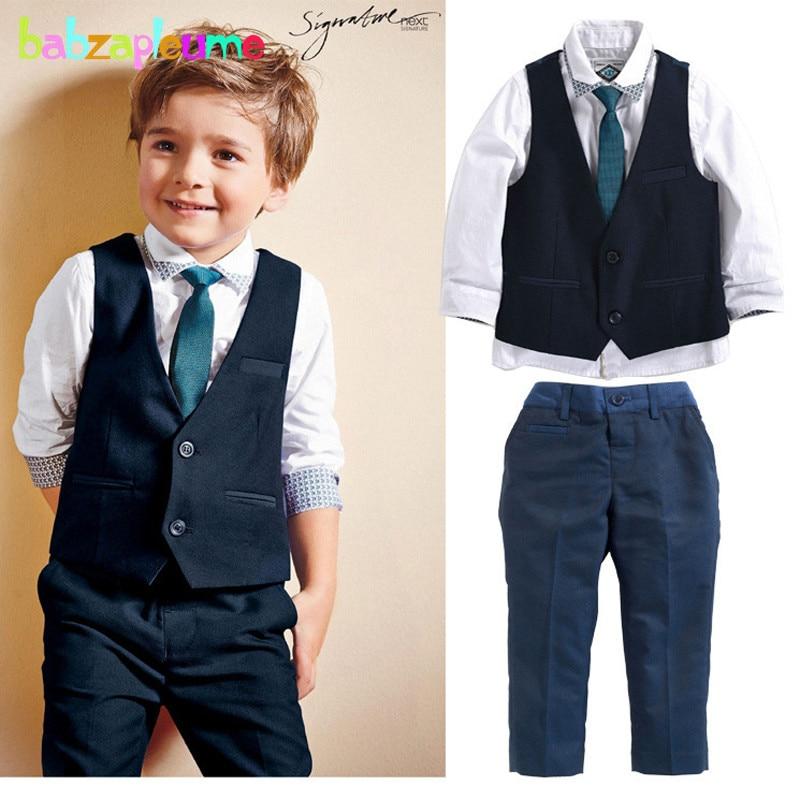 Gentleman Baby Boy Clothes Wedding Costume infant Children Kids Vest+Shirt+Pant+Tie 3pcs suit 2-6Year/Autumn Baby Outfit BC1301 handsome boy and summer gentleman shirt strap 2 suit factory direct