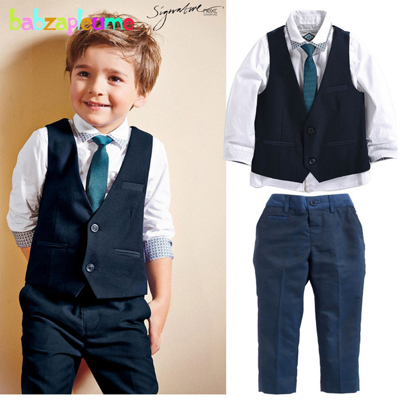 Gentleman Toddler Boy Clothing Wedding Clothes Children suit Kid Vest+Shirt+Pant+Tie 3pc ...