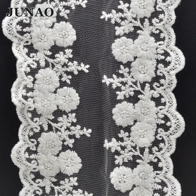 Yard white cotton lace fabric flower embroidered ribbon