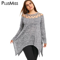 PlusMiss Plus Size 5XL Sexy Lace Up Off The Shoulder Tunic Top Women Clothing Long Sleeve