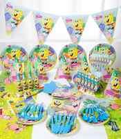 148 pz/lotto spongebob Cornici e articoli da esposizione A Tema Bambini di Decorazione Di Compleanno Set A Tema Rifornimenti Del Partito di Compleanno Del Bambino Party Pack