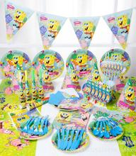148pcs/lot spongebob Theme Package Kids Birthday Decoration Set Party Supplies Baby Pack
