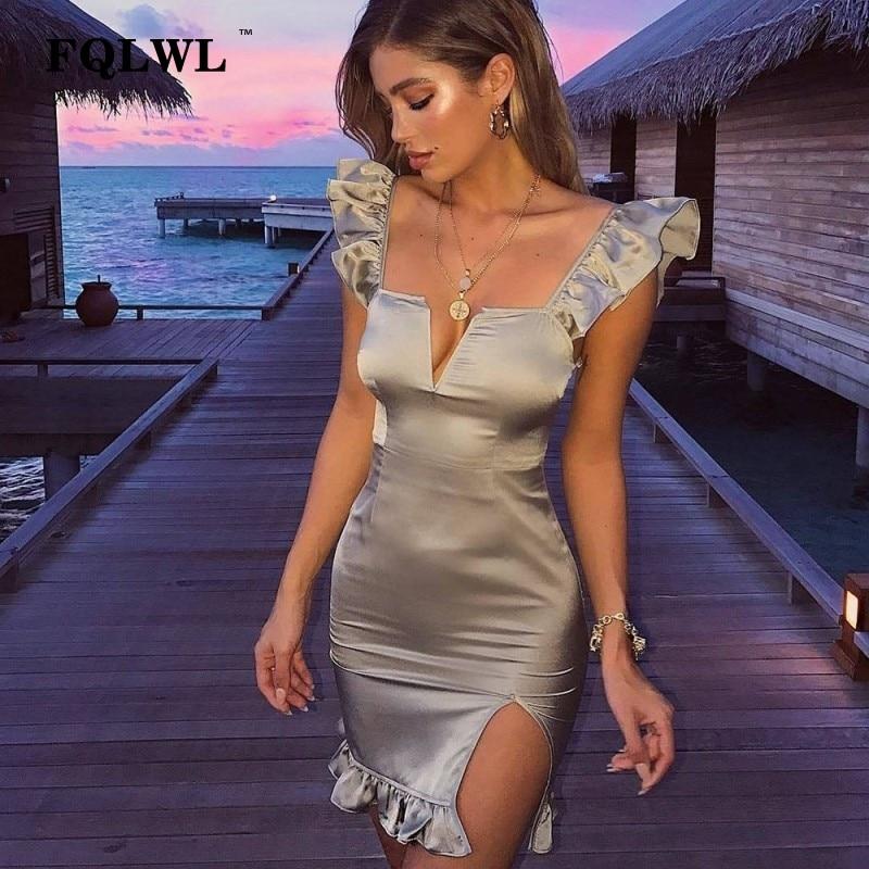 38345879e7d7 FQLWL elegante para mujer Vestido corto de fiesta con volantes espalda  descubierta Bodycon Vestido de satén mujeres Sexy otoño verano Club  urdimbre ...