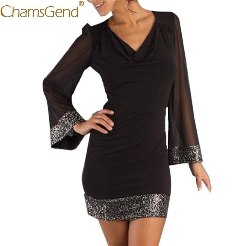 Chamsgend женское платье OL леди Сексуальная V шеи Женская футболка с длинными рукавами и блестками кружева вечернее платье черный 80201
