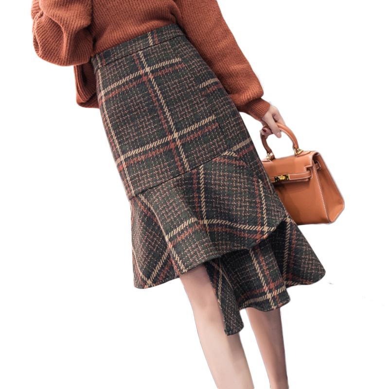 New Autumn Ladies Office Wool Skirt Irregular Plaid Midi Fishtail Skirts Women OL Hip Package Ruffles Woolen Jupe Elegant Faldas