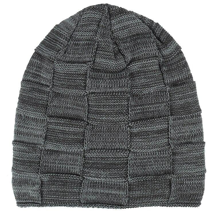 Beanie Men Plaid Knitted Hat Set Balaclava Mask Gorras Bonnet Winter ... f227c76fabdf