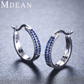 Mdean Sapphire Jewelry Genuine 925 Sterling Silver CZ Diamond 3.31Gram Hoop Earrings for Women 18mm*18mm