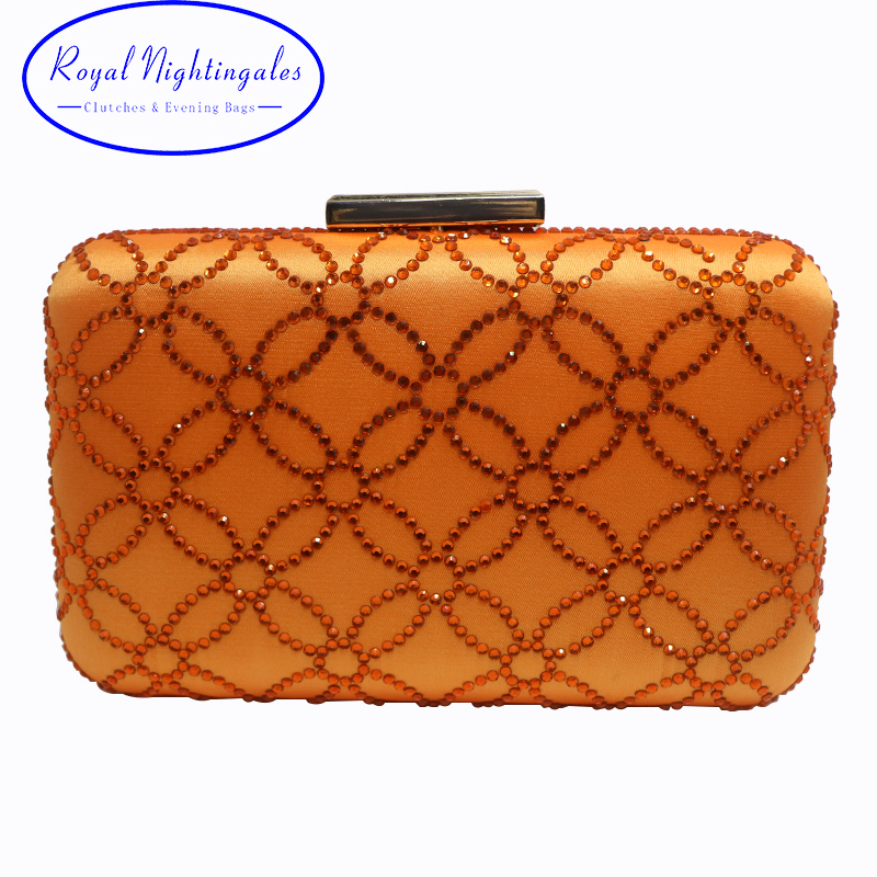 Wholesale Big Capacity Larger Size Crystal Hard Case Box Clutch Evening Bag and Clutches Orange box clutch purse