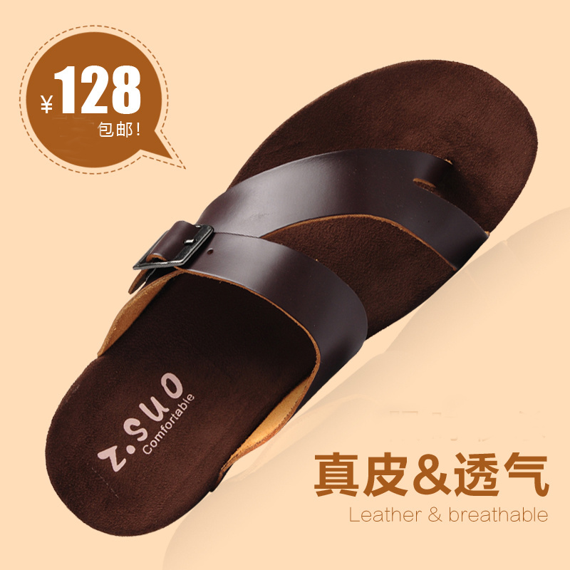 men s Genuine leather slippers summer cowhide male drag outdoor casual slippers free shipping