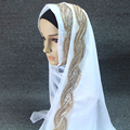 Plain printe brilho fashoin verão lace lurex cachecol longo muçulmano hijab lenços/cachecol