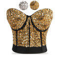 Striking Gold Sequin & Beading Studded Belly Dance Bra Top Sexy Bustier Underwear Women Bra Push Up Bralette Punk Rock Brassiere