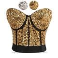 Striking Gold Sequin & Beading Studded Belly Dance Bra Top Sexy Bustier Underwear Women Bra Push Up Bralette Punk Rock Brassiere