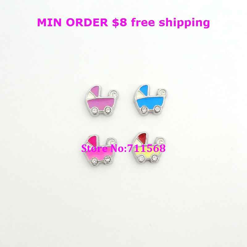 10pcs Purple/Blue/Pink/Yellow Baby Buggy with Crystal Floating Charms Baby Stroller Carriage Charms For DIY Floating Locket Pend