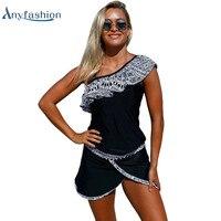 Plus Size Striped Tankini Swimsuit Double Up Sport Swimwear Women Two Piece Swimwear Bikini Set Tank Top 2 Piece Suits