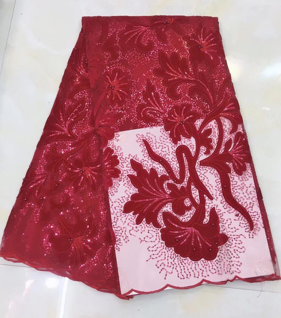 Hot Sale Laser Cutting Lace Fabric 2019 High Quality Lace Latest African Laces Fabric Velvet Wedding