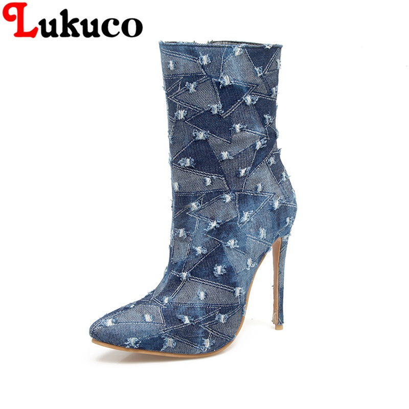 2018 Denim boots big CN size 37 38 39 40 41 42 43 44 45 46 47 48 thin high heels design women shoes real pictures free shipping oversize autumn winter men s tapered jeans trousers denim harem pant plus size 40 42 44 46 48