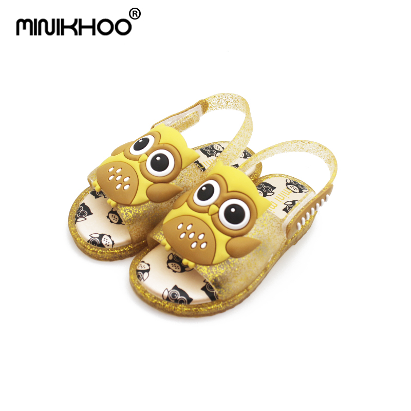 Mini Melissa 4 Color Owl LED Flash Girls Jelly Sandals 2018 Children LED Shoes Baby Sandals Jelly Sandals Mini Melissa Shoes