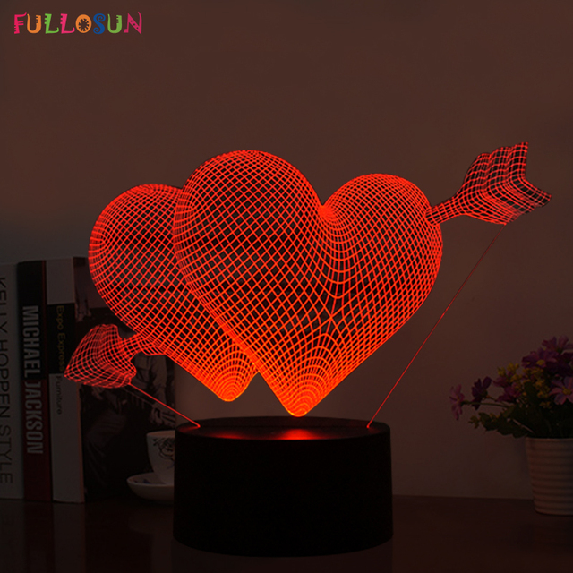 Sweet 3D USB LED Lamp LED LOVE Heart Shape Night Light With 7 Colors Desk  Lamp Design Ideas