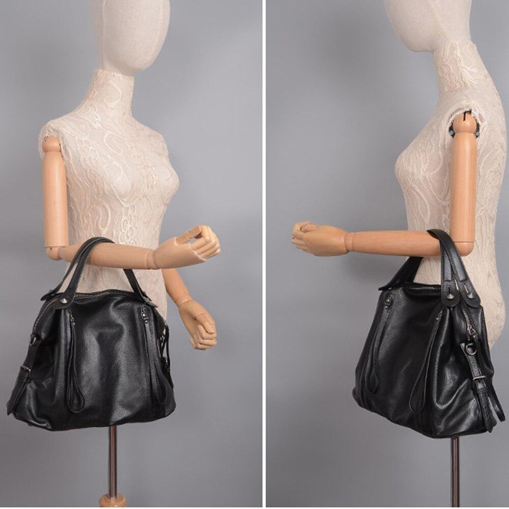Zency w stylu Vintage kobiety torebka 100% prawdziwej skóry klasyczny czarny na co dzień torebka wysokiej jakości urząd Lady torba na ramię duża pojemność w Torby z uchwytem od Bagaże i torby na  Grupa 2