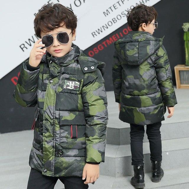 Зимняя куртка для мальчиков, новинка 2018 года, модные камуфляжные парки для мальчиков, хлопковая стеганая куртка с капюшоном, теплое вельветовое пальто, 120-170