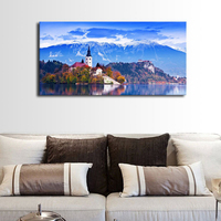 Blue Canvas Print Art Wall Lake Mountain Picture Artwork Church Island Painting Wall Art for Bathroom Kitchen Office Home Decor