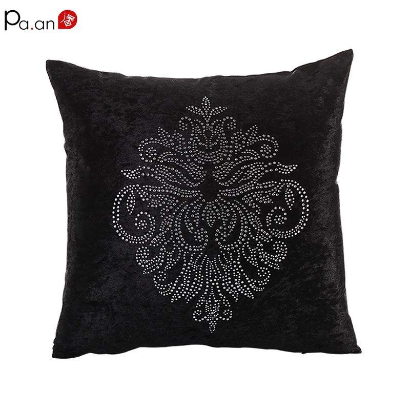 P European Luxury Cushion Cover Satin Velvet Diamond Embroidery Floral Paisley Palace Sofa Decorative Lumbar Pillow