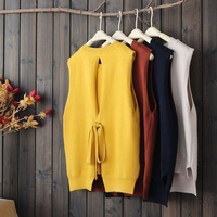 Autumn Winter Mori Girl Sweet Pullovers Sweater Women's Pure Color Back Hollow Out Bow Sleeveless Casual Vest Sweaters U714