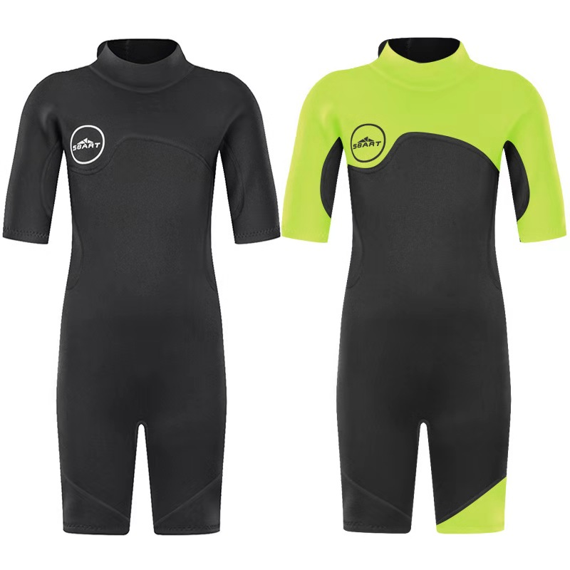 SBART Kids 2mm SCR Neoprene Swimsuit Baby Wetsuits Snorkeling Surfing Children's Swimwear Short sleeve Elastic Diving Suits