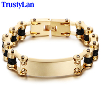 Aliexpress Fashion Gold Stainless Steel Leather Mens Bracelet Link Chain Biker Bicycle Jewelry Bracelets Pulseira Masculina